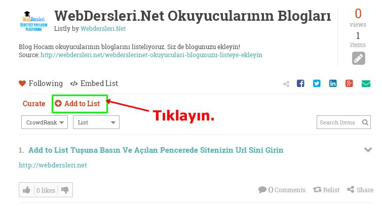 WebDersleri.Net Okuyucuları Blogunuzu Listeye Ekleyin